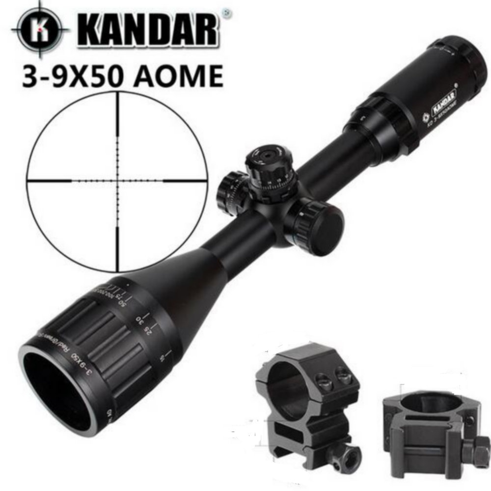 KANDAR 3-9x50 AOE Mil-dot Reticle RifleScope Locking Resetting Full Size Hunting Rifle Scope Tactical Optical Sight sniper 3 9x50 aol hunting riflescope tactical optical sight full size mil dot equipment rgb wire reticle for rifle scope