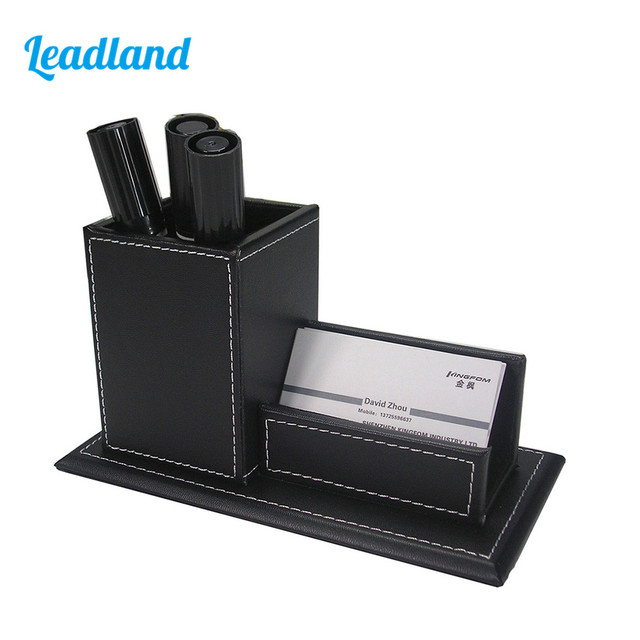 Pu leather business card holder stand with pen marker holder box pu leather business card holder stand with pen marker holder box office supplies colourmoves Images