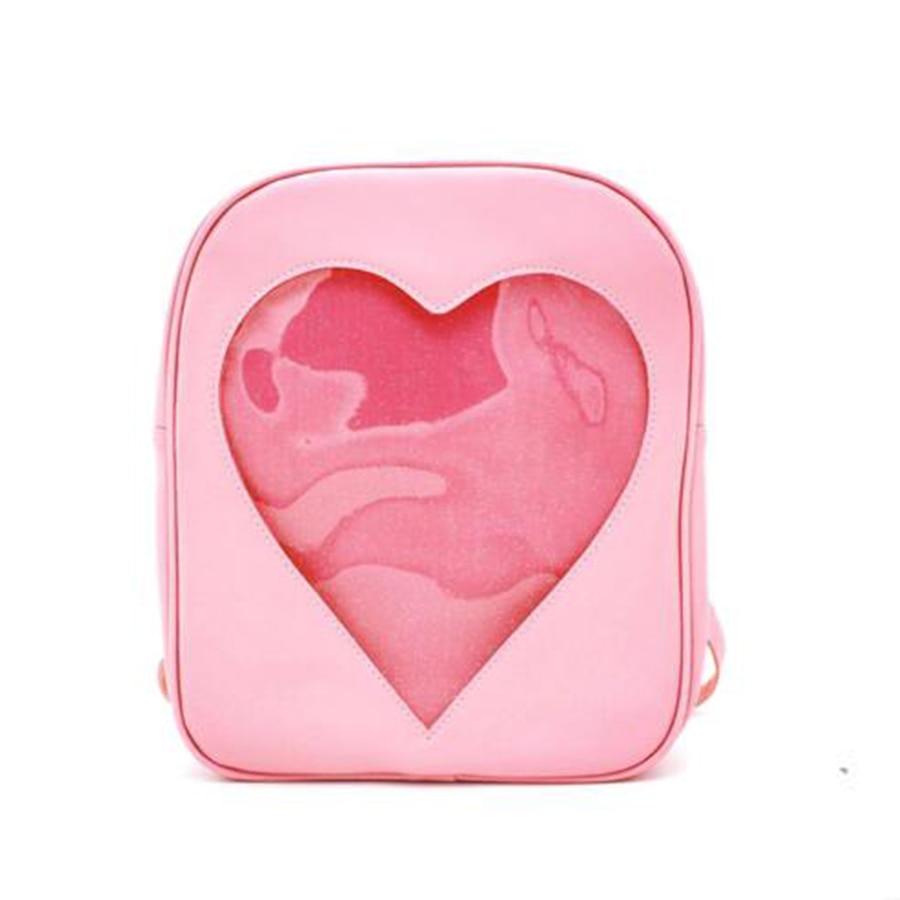 Brand Designer Backpacks Women Candy Transparent Love Heart School Bag Children Harajuku Casual Book Bag Teenager Girl Ita Bag heart decor zipper front backpacks bag