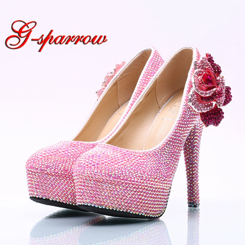 2018 Rose Flower Pink Rhinestone Wedding Shoes AB Crystal Luxury High Heel Party Shoes Big Size 45 Drop Shipping Prom Pumps стоимость