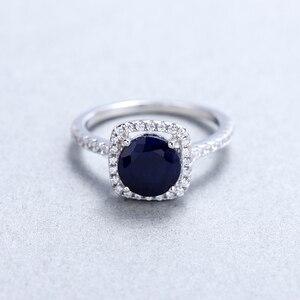 Image 3 - 보석 발레 2.57ct 자연 블루 사파이어 925 스털링 실버 반지 여성을위한 훌륭한 보석 보석 결혼 약혼 반지