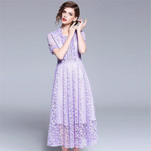 4d0bc0f0074 Lavender 2018 Women Elegant Party Ruffles Sexy Maxi Dresses 2018 Summer New  O Neck Butterfly Sleeves Bodycon A-line Lace Dress