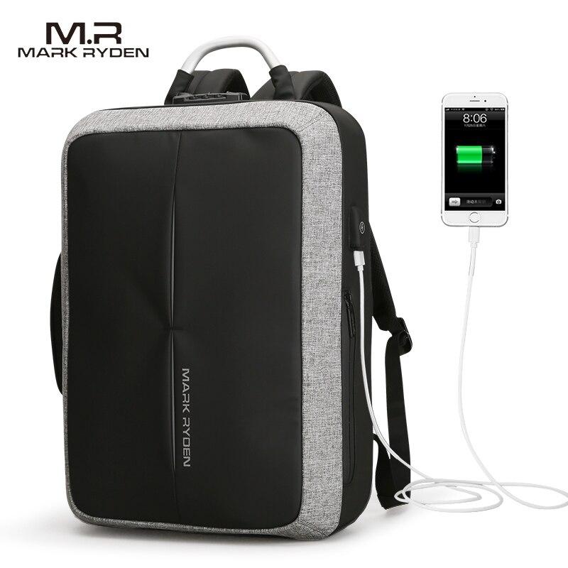 2018 Mark Ryden Novo Anti-ladrão USB Recarga Homens Mochila SEM Chave TSA Bloqueio Projeto Homens Mensagem de Negócios de Moda mochila mochila de Viagem