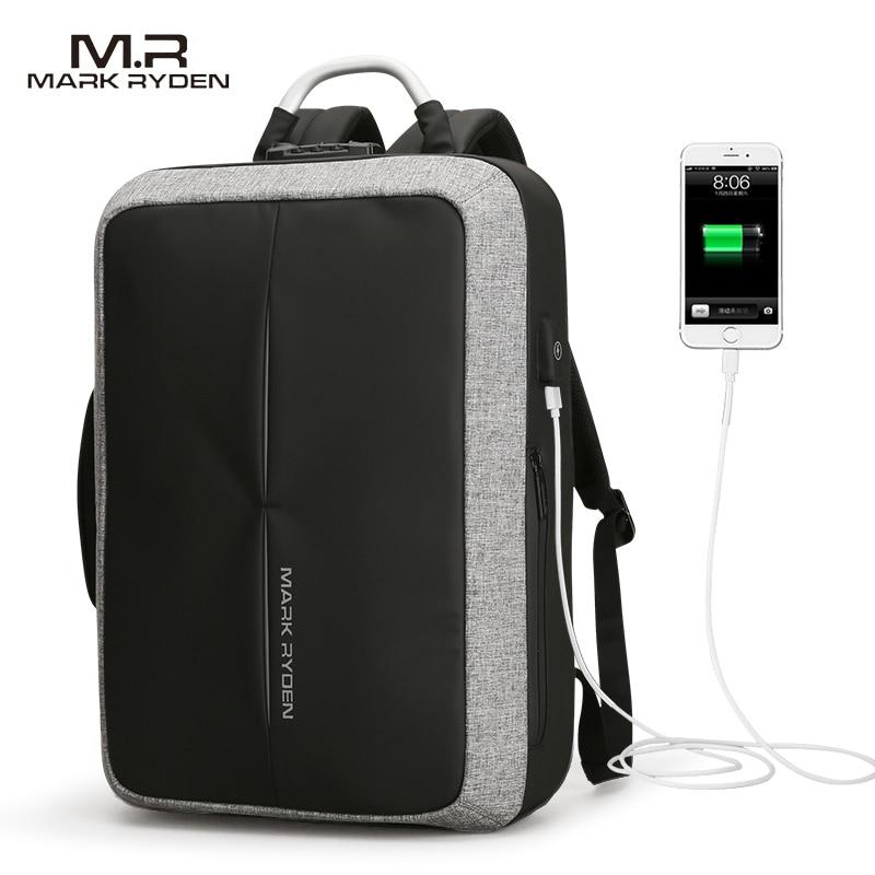 Mark Райден Новый Анти-Вор USB для подзарядки полиэстер рюкзак пользовательские блокировки Дизайн Для мужчин Бизнес сумка сообщение рюкзак мо...
