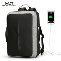 Mark Ryden New Anti Thief USB Recharging Polyester Backpack Custom Lock Design Men Business Bag Message