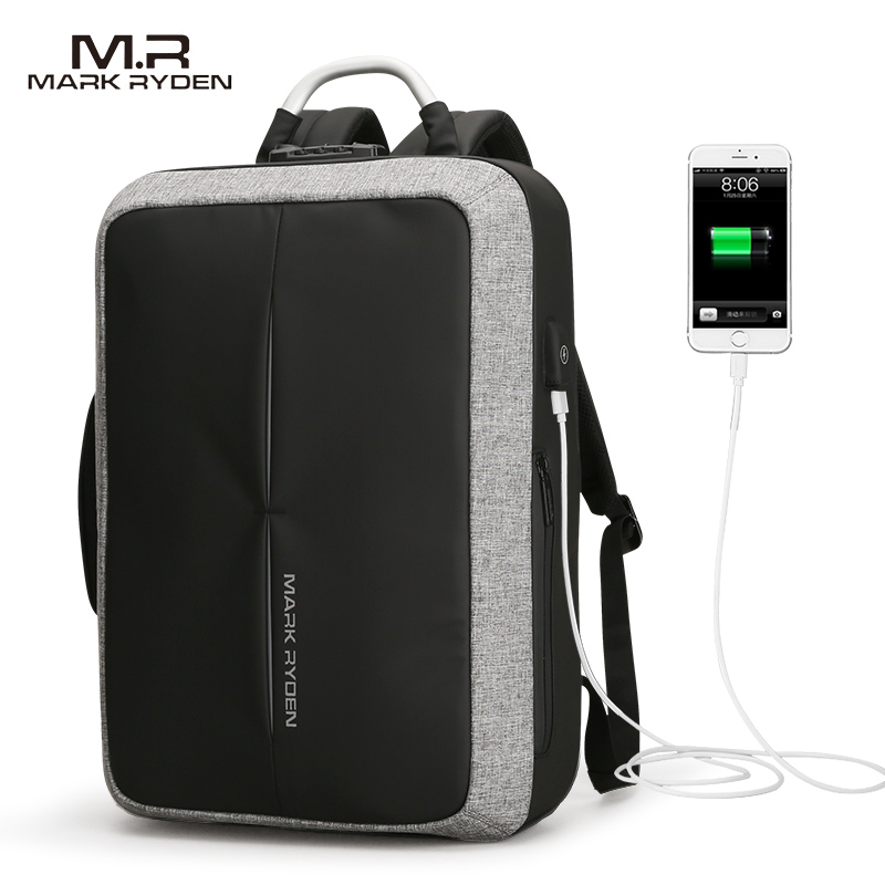 Mark Ryden New Anti-thief USB Recharging Polyester Backpack Custom Lock Design Men Business Bag Message Backpack Fashion Travel
