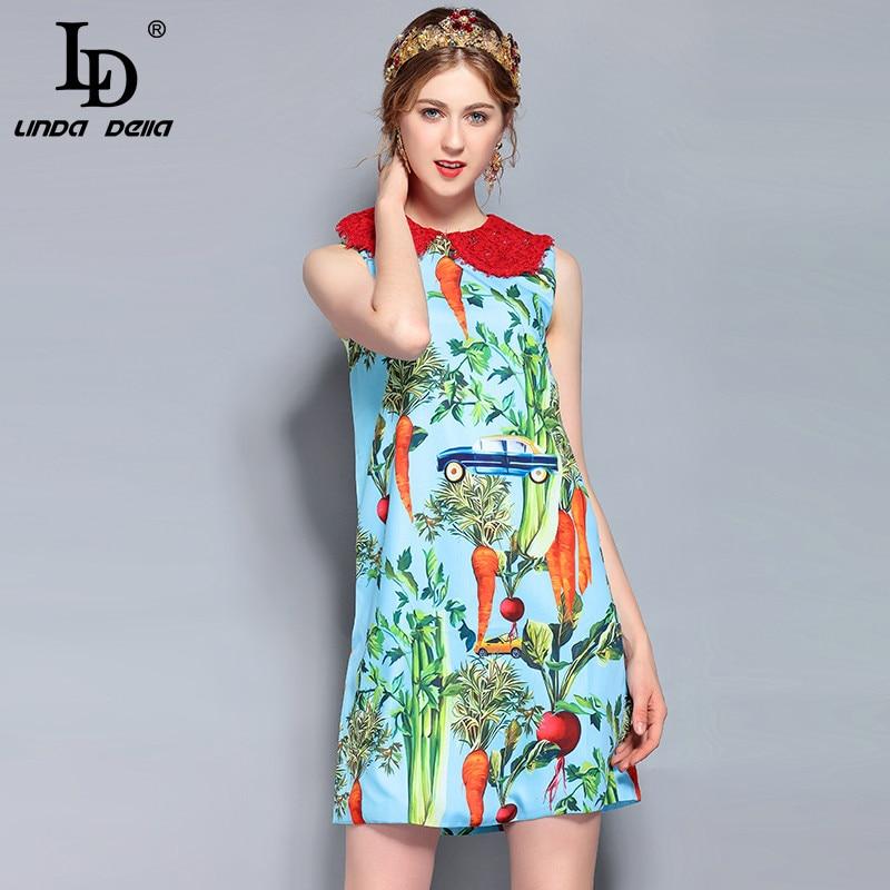 LD LINDA DELLA New Fashion Runway Summer Dress Women s Sleeveless Lace Collar Casual Vegetables Printed
