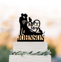 Personalized Wedding Cake Topper Mr And Mrs Bride And Groom Silhouette Cake Toppers With Two Cat