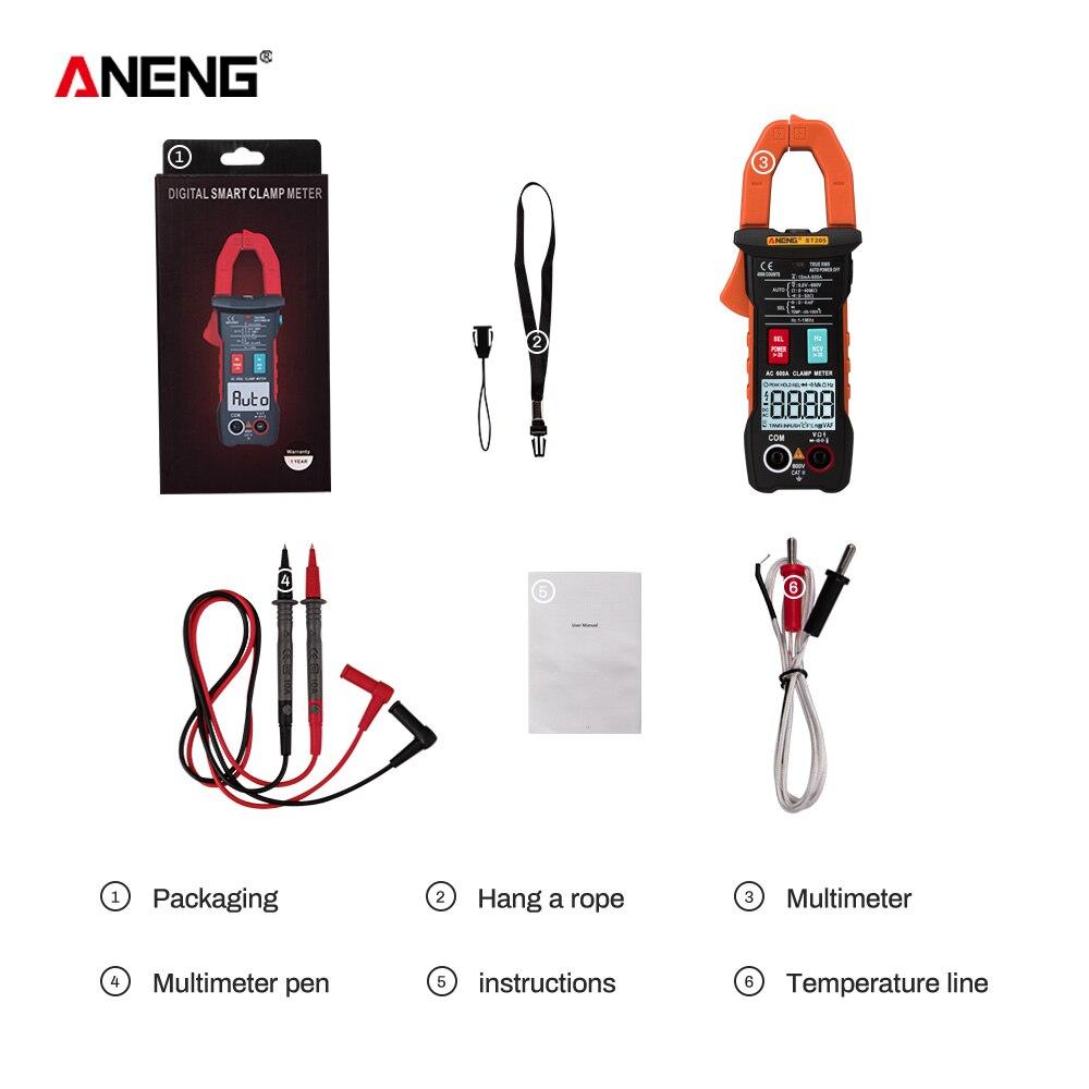 ANENG ST205 цифровой клещи аналоговый мультиметр токовые клещи DC/AC Интеллектуальный автоматический измеритель диапазона с тестером температуры - Цвет: Оранжевый
