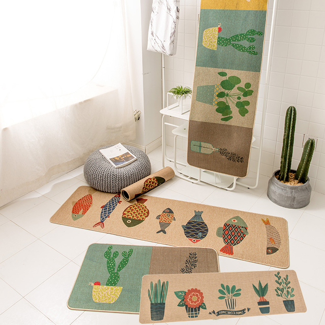 Natural Rubber Flowers Fish Plant Printing 2 Pieces Sets Non Slip Kitchen Rug And Carpets Comfortable Resist Fatigue Runner In Carpet From Home