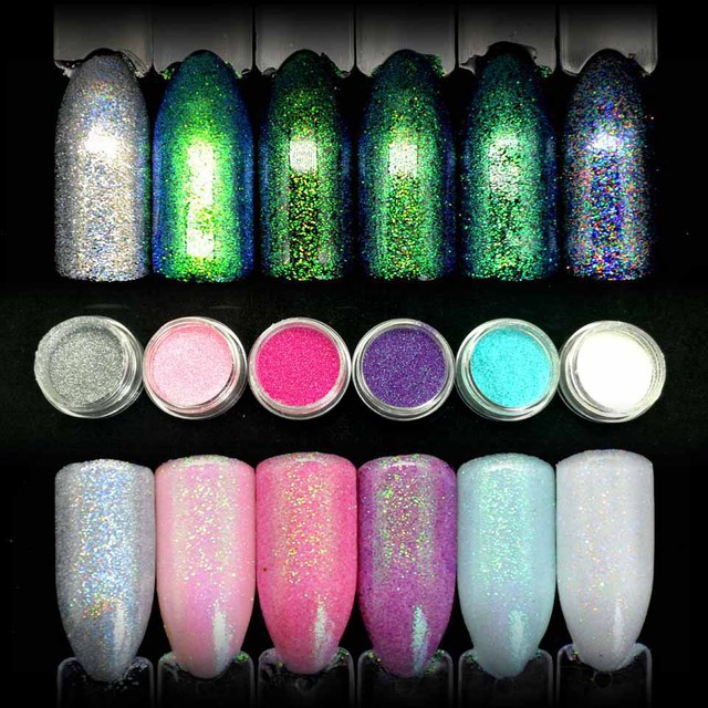 6 colores brillantes sirena efecto Manicura Glitter polvo DIY uñas ...
