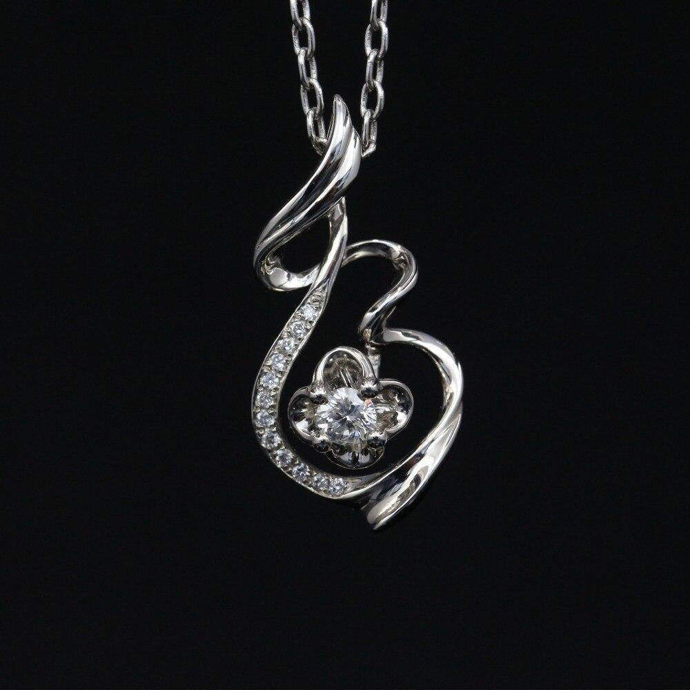 Halo 0.11CT 18k Gold Round Cut Square Center Pave Set Natural Diamond Pendant Necklace Chain Women Fine Jewelry