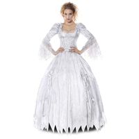 White Ghost Countess Cosplay Victorian Gothic Gowns Sexy Zombie Bride Costume Halloween Costumes For Women Vampire