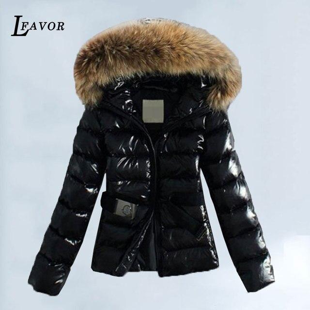 3ac2a1dfe49 Winter Jacket Women Short Cotton Coats Plus Size 5XL Glossy Black Parka Coat  Faux Fox Fur Collar Hooded Warm Female Jackets 25