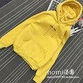 Europe 2016 Autumn Women Fashion Solid Yellow Brief Letters Print Loose Sweatshirt Long Sleeve Crew Neck Pullover Sweatshirt
