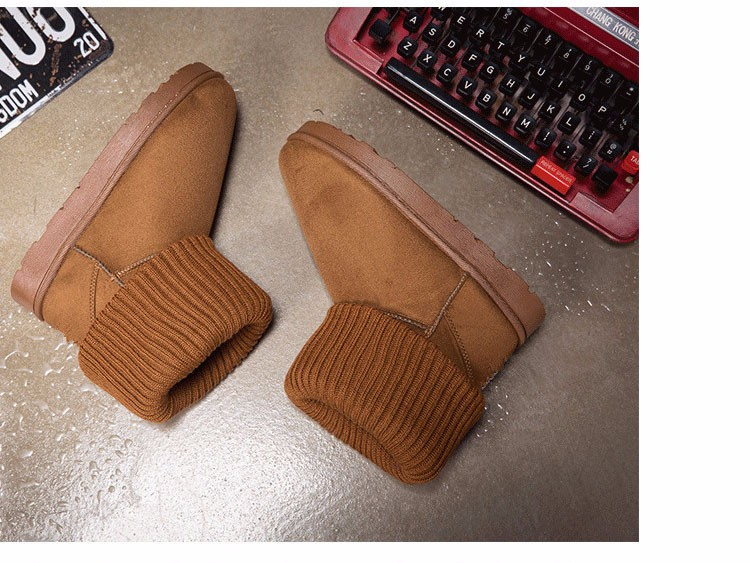 KUYUPP Patchwork Knitting Wool Women Snow Boots Winter Shoes 2016 Flat Heels Warm Plush Ankle Boots Slip On Womens Booties DX119 (58)