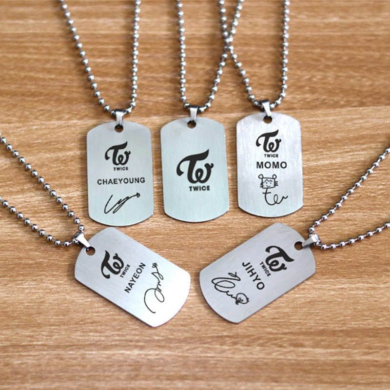 KPOP TWICE New Album Stainless Steel Tag Necklace K-pop Kpop Metal Logo Pendant Neckace For Men Women TWICE Jewelry Accessories