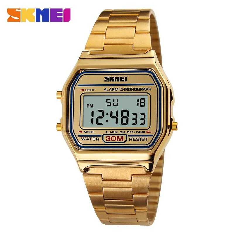 SKMEI LED Digital Digital Sports Watches Mens Women Gold Full Steel Military Waterproof Wristwatches Relogio Masculino 1123