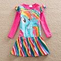 Puro roupas Lindo vestidos da menina por atacado Bebê crianças roupas my little pony menina vestido de festa longo menina manga roupas LH6010