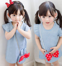 457ab010f3 Niñas vestido 2019 de moda Coreana de verano nuevos niños de dibujos  animados de La bolso chicas lindo vaquero bebé vestido de l.