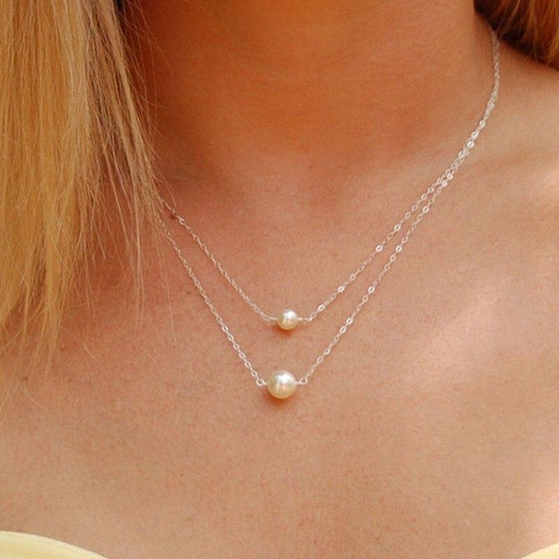 NK1023 горячая Распродажа модные милые двухслойные имитация жемчуга шар подвеска в виде капельки ожерелья Дешевые ювелирные изделия для ключицы для женщин - Окраска металла: NK1023 Silver