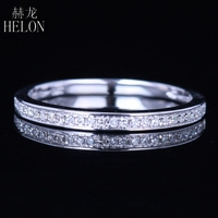 HELON 1 10CT Natural Diamond Half Eternity Band Solid 10k White Gold Ring Engagement Anniversary Ring