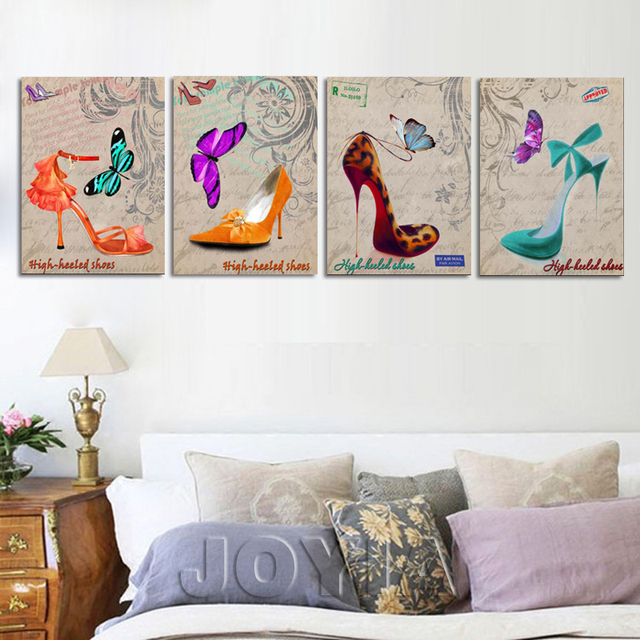 Fashion High Heeled Shoes Paintings Canvas Art Prints Girl Lady Bedroom  Painting Poster Wall Picture