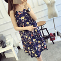 Summer sweet long sleeveless maternity gown photography 2016 loose casual floral harness pregnant women dress ropa embarazada