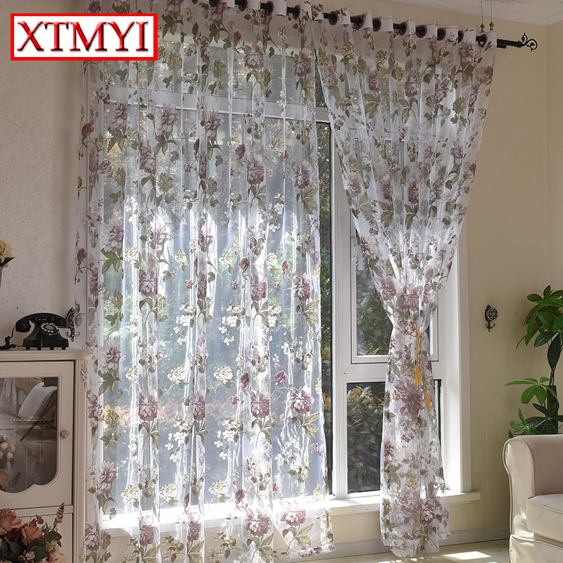 European style purple floral tulle font b curtains b font for living room bedroom kitchen modern