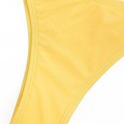 ZAFUL Bikini Scrunch HighCut stringi zestaw Bikini kobiety jest usztywniony kostium kąpielowy Spaghetti pasy stałe stroje kąpielowe lato ciąg SwimmingSuit 4