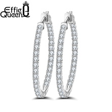 Фотография Fancy Cubic Zircon Diamond Paving Big Hoop Earrings Female Models Super Flash Retro Jewelry DAE028