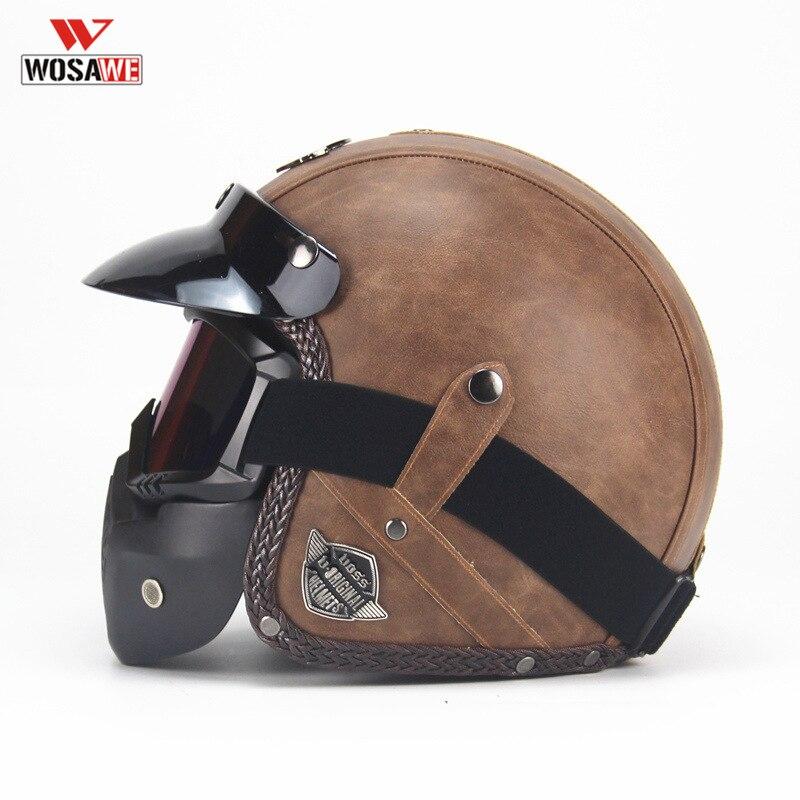 Casque de moto PU cuir Vintage Rivet 3/4 casques avec masque masque Casque Casque capacete de motocicleta
