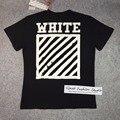 Melhor versão 16SS off white listrado Diagonal Escovado logotipo gráfico impresso t-shirt dos homens do algodão de manga curta tee