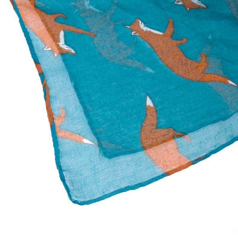 Venta caliente mujer bufanda zorro Animal estampado encantador zorro bufanda mujer chales Primavera Verano señora chal invierno Bali hilo Animal bufanda