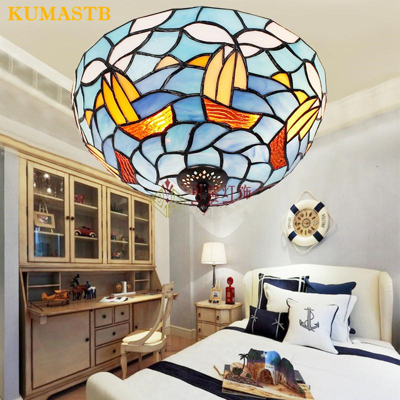 Sailboat Ceiling Lights For Bedroom Study Lamp Children Room Stained Glass Minimalist LED Ceiling Lamps