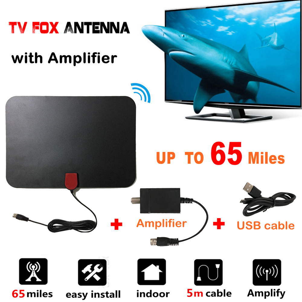 65 Miles Indoor Digital TV Fuchs Antenne mit Signalverstärker TVFox Antena Empfänger Analog Kostenloser HD Fuchs Antenne UHF DVB-T2 ATSC DTV