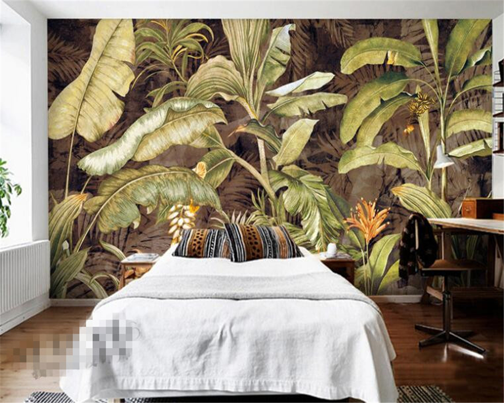 Beibehang Photo Wallpaper Retro Tropical Plant Banana