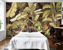 Beibehang Photo wallpaper retro tropical plant banana leaves flower oil painting background wall decoration 3D paper