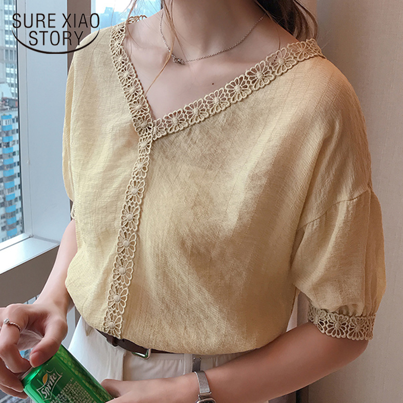 2018 new summer short sleeved   blouse     shirt   casual fashion solid plus size women tops v-neck female simple women clothing 0618 40