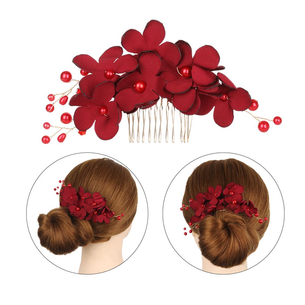 Tiara Red Combs Jewelry-Accessories Hairpin Bridal-Clips Wedding-Bridesmaid Barrettes