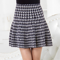 YNZZU Autumn Winter Women Skirts Fashion High Waist Elastic New 2016 Knitted Casual Plaid Flared Pleated Mini Skirts YB041