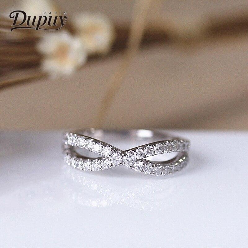 DUPUY Classique Anneau Forme Ronde Cut Bague de Fiançailles 14 k de Luxe en Or Blanc Bague en Diamant Femmes Accessoires Bijoux DIY D180005