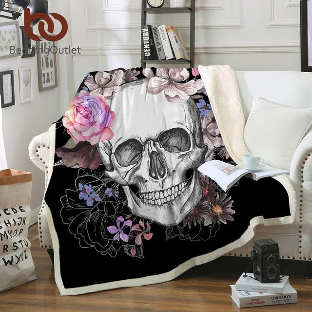 BeddingOutlet Sugar Skull Blanket for Beds Floral Roses Thin Quilt Fashionable Bedspread 130x150cm Fleece Throw Blanket