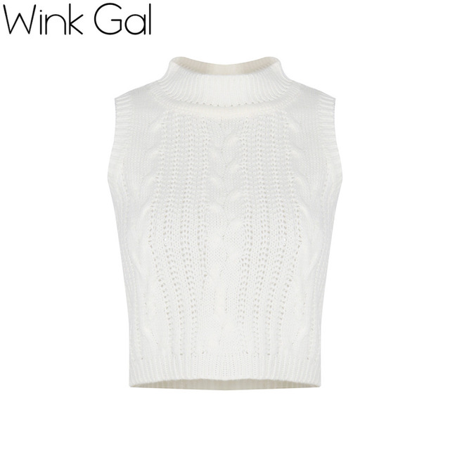 Wink Gal осенний вязанный топ рубашка круглого воротника без рукавов трикотажный пуловер с открытами плечами белого цвета