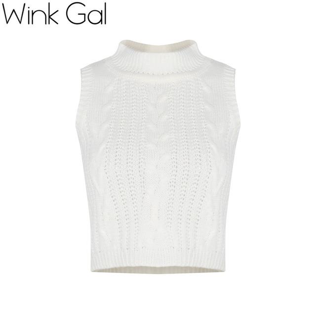 Wink Gal Outono Crochet Top Camisa O Pescoço Curto Sem Mangas De Malha Fora Do Ombro Tops 1415