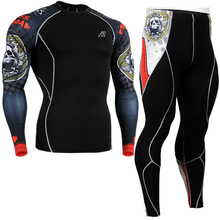2016 compressive running skin compression sets wear cycling base layer suits sets long sleeve shirt brand+print tights