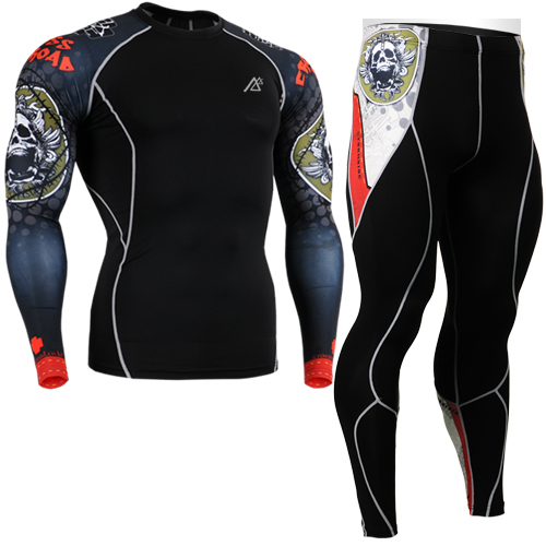 2017 compressive running skin compression sets wear cycling base layer suits sets long sleeve shirt brand+print tights