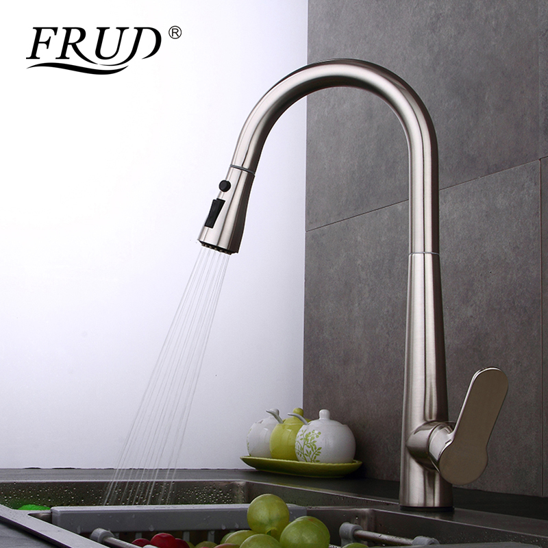 FRUD High Quality Kitchen Faucets Sink Mixer Taps Single Handle Pull Out Kitchen Faucet Swivel 360 Degree Water Mixer Tap Y40062