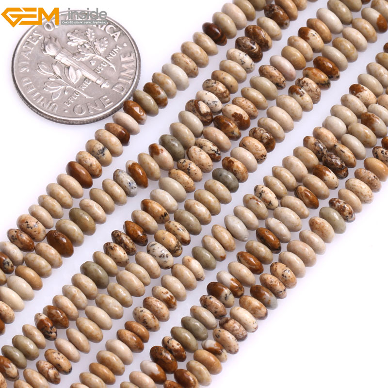 Natural Rondelle Smooth Loose Picture Jaspers Spacer Beads For Jewelry Making Bracelet Necklace Strand 15 DIY Jewellery