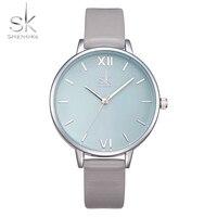 Shengke Watches Women Fashion Watch 2017 New Elegant Dress Leather Strap Ultra Slim Wrist Watch Montre